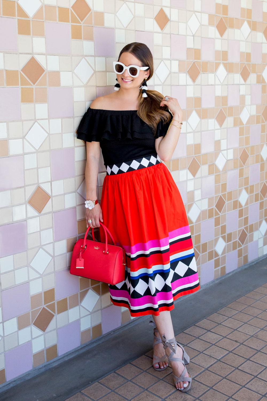 Kate Spade Red Geo Print Midi Skirt