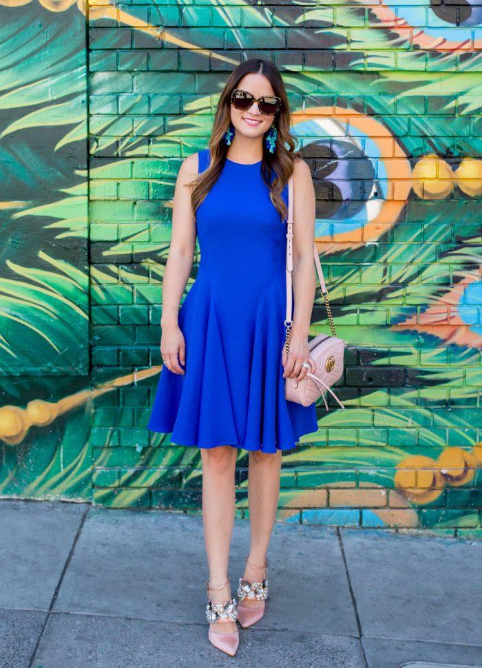 Cobalt Blue Fit Flare Dress