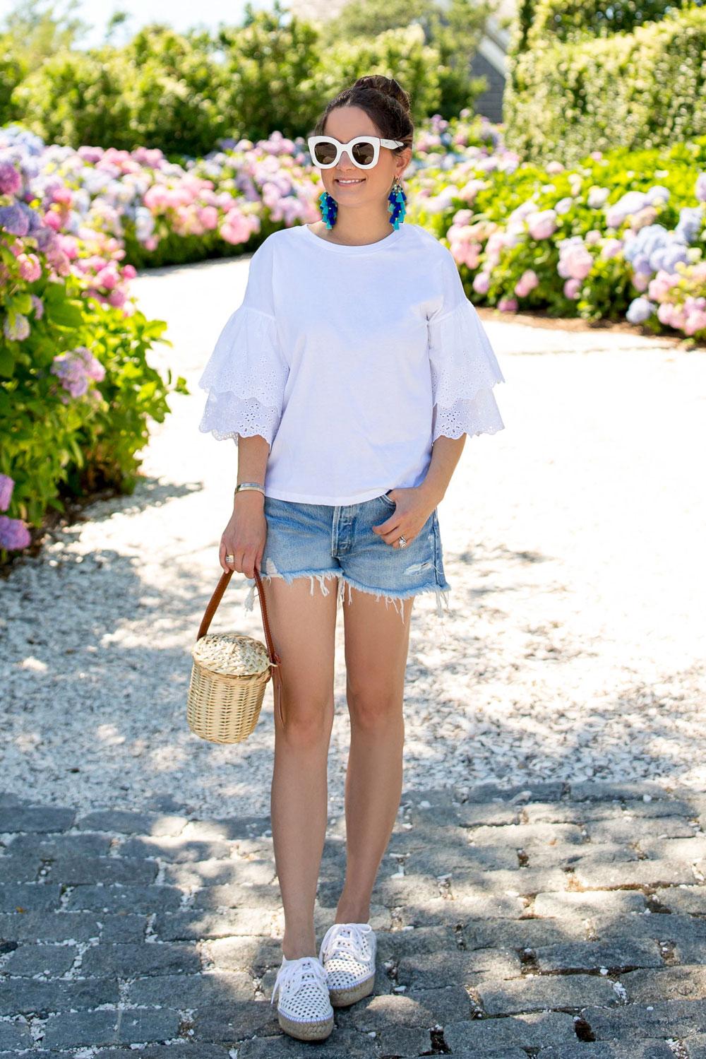Topshop White Bell Sleeve Shirt