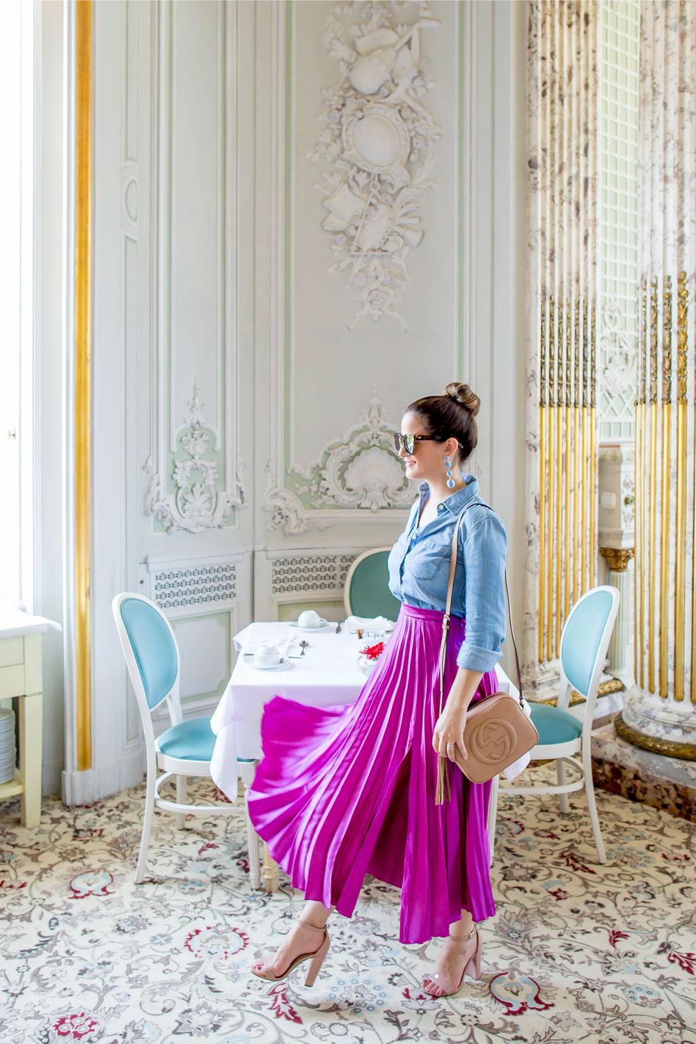ASOS Purple Satin Pleated Midi Skirt