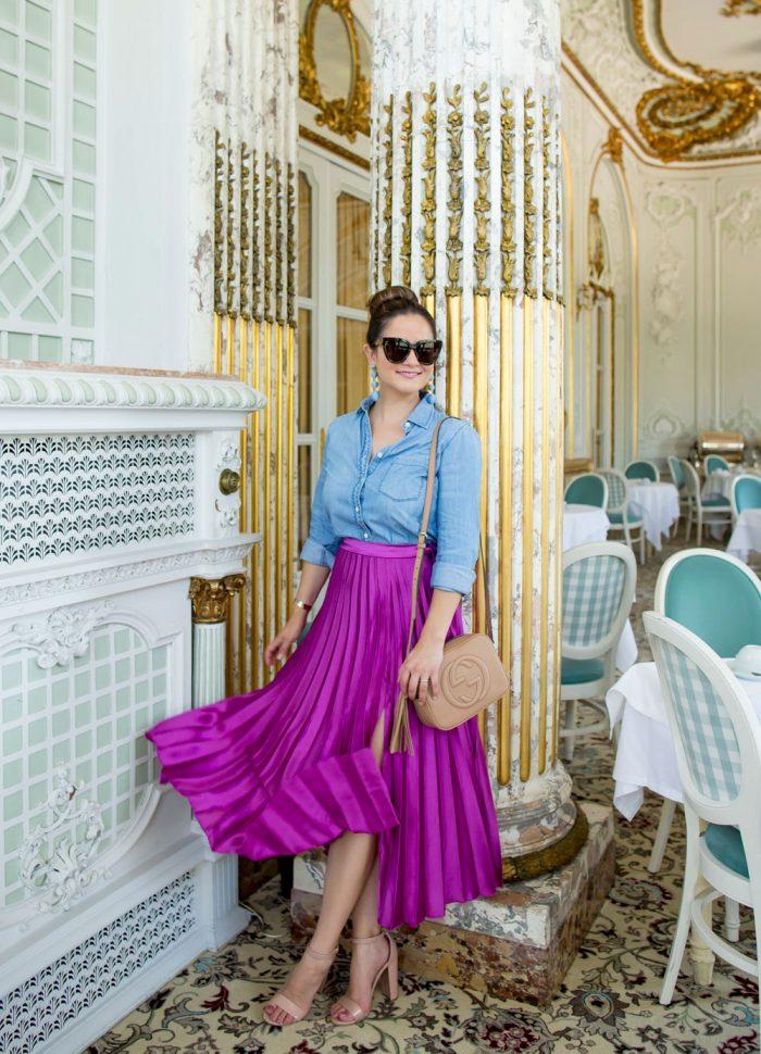 Purple Pleated Satin Midi Skirt | Pestana Palace Lisbon
