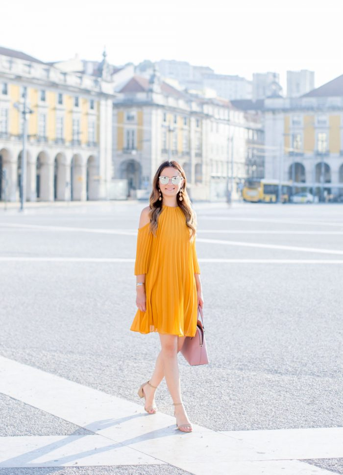 Yellow Pleated Cold Shoulder Dress | Lisbon, Portugal