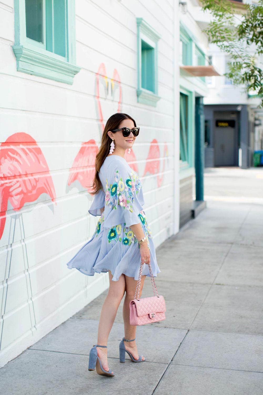 Blue Floral Embellished Mini Dress