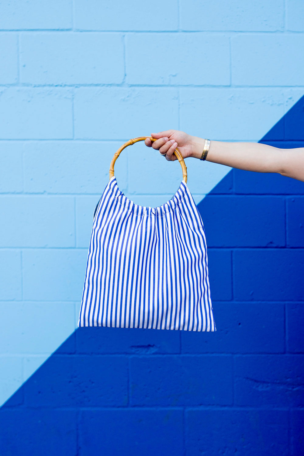 Blue Stripe Bamboo Handle Bag