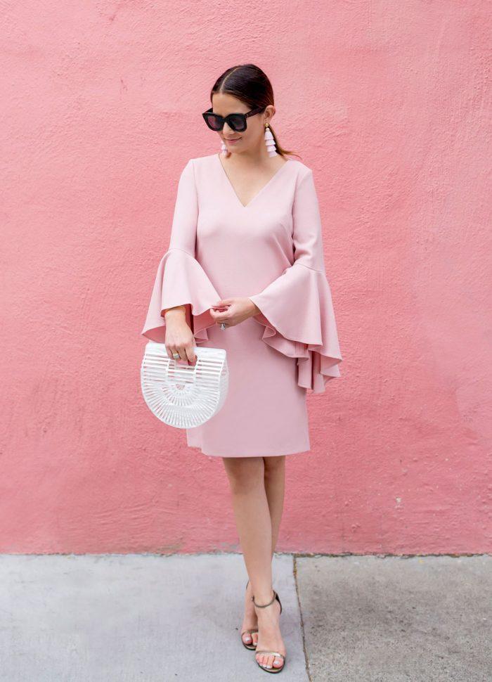 Pink Statement Sleeve Shift Dress