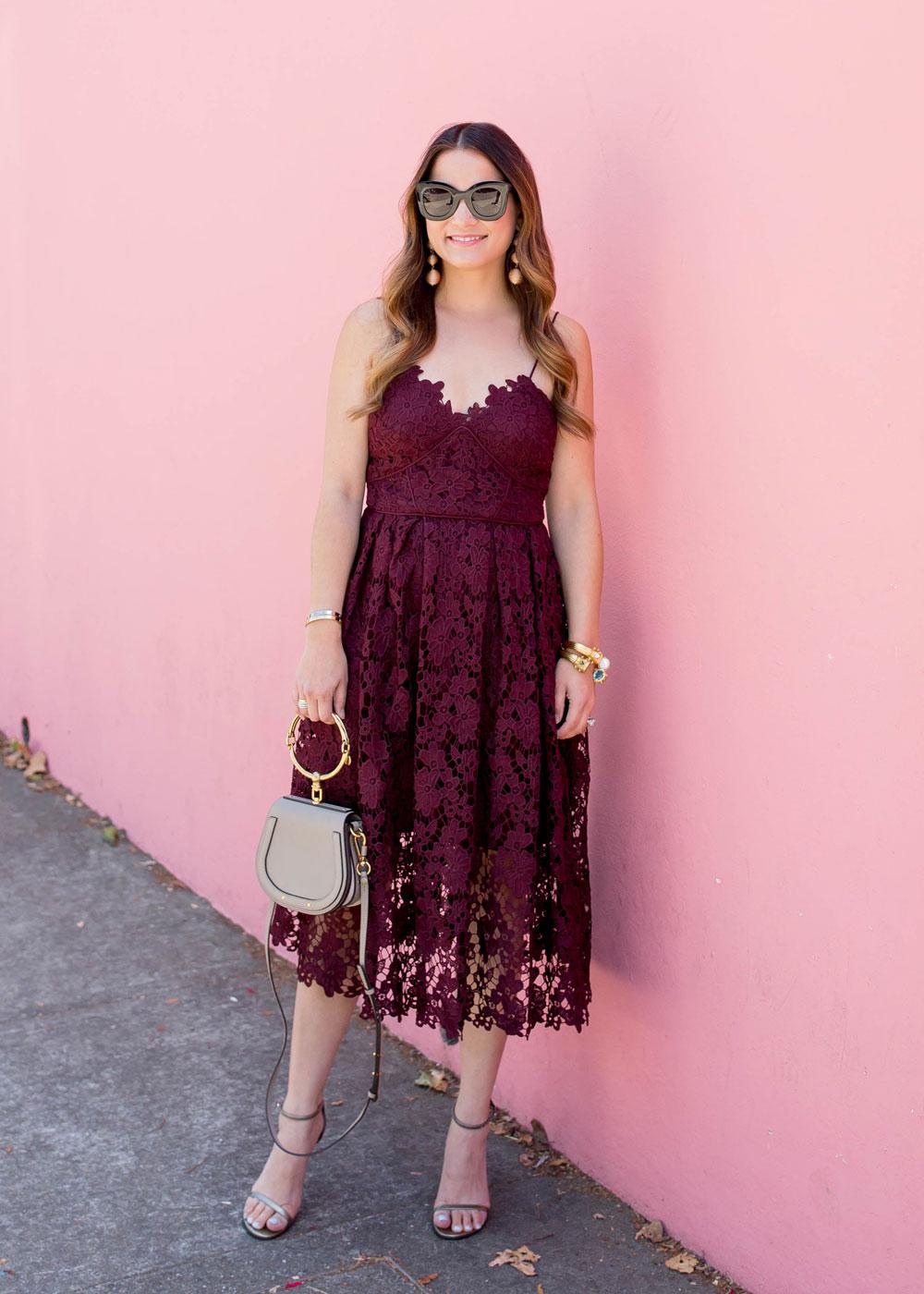 Burgundy Lace Midi Dress At A Pink Wall In San Francisco