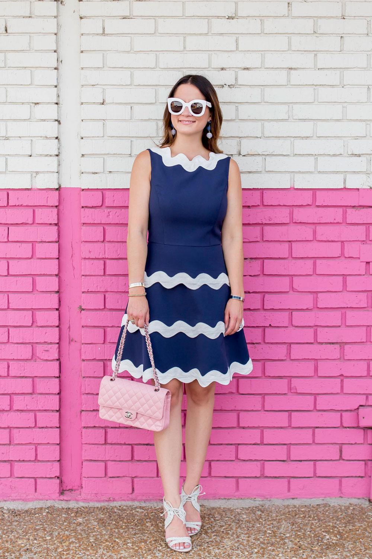 Navy Sleeveless Fit Flare Dress