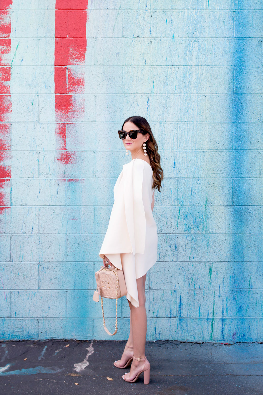 One Shoulder Draped Mini Dress