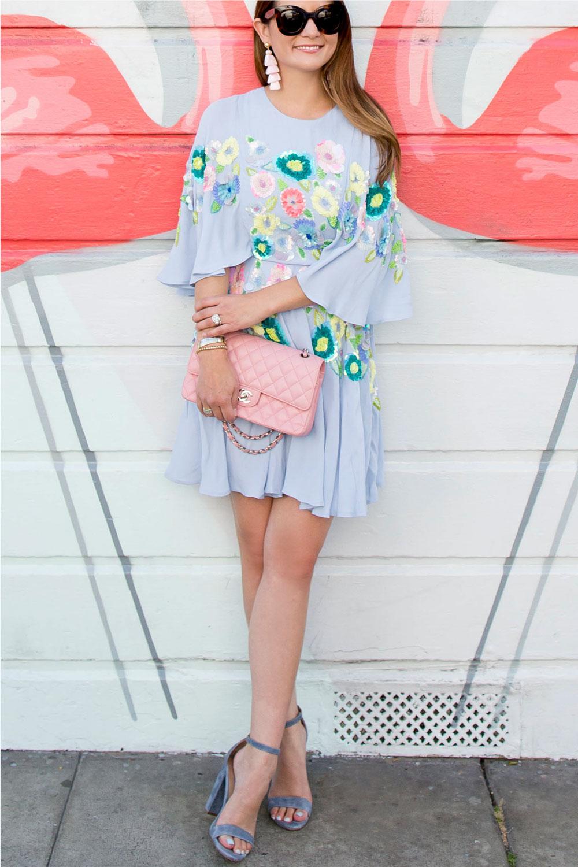 Pastel Blue Floral Embellished Flutter Dress