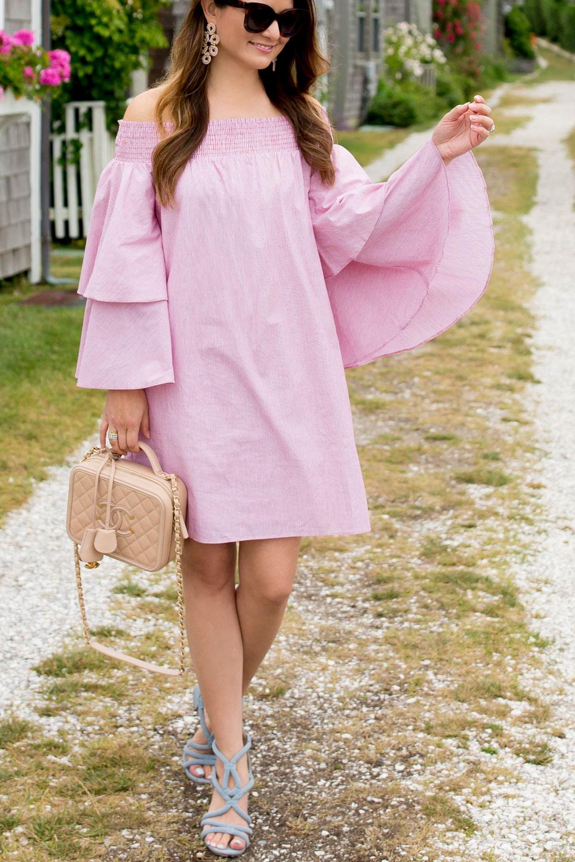Pink Bell Sleeve Off Shoulder Dress