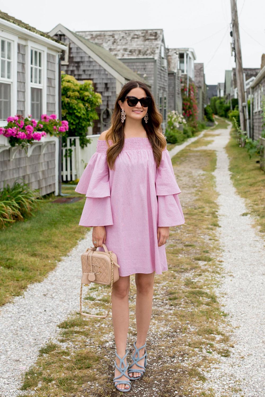 Pink Ruffle Off Shoulder Dress