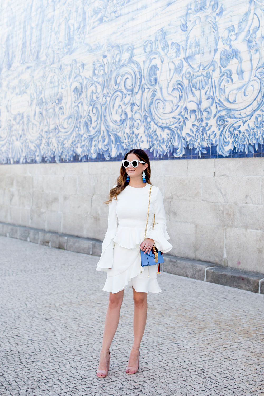 Rebecca Vallance Bell Sleeve Ruffle Dress