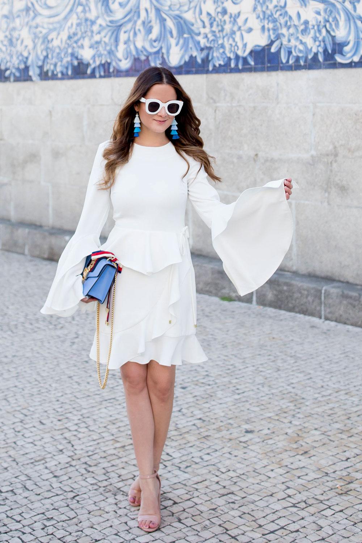 Rebecca Vallance White Ruffle Dress