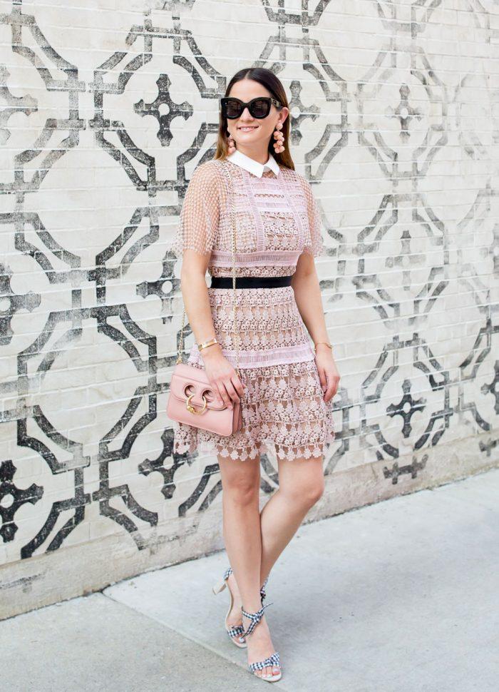 Self Portrait Pink Lace Mini Dress