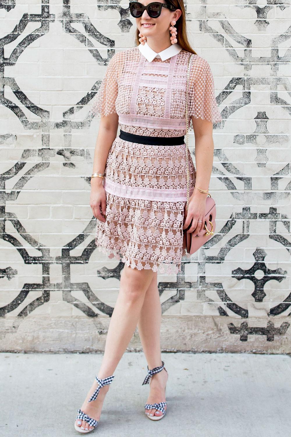 Self Portrait Pink Fit Flare Dress
