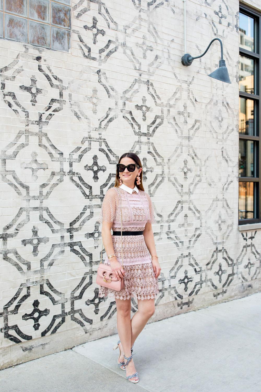 Self Portrait Pink Guipure Lace Dress