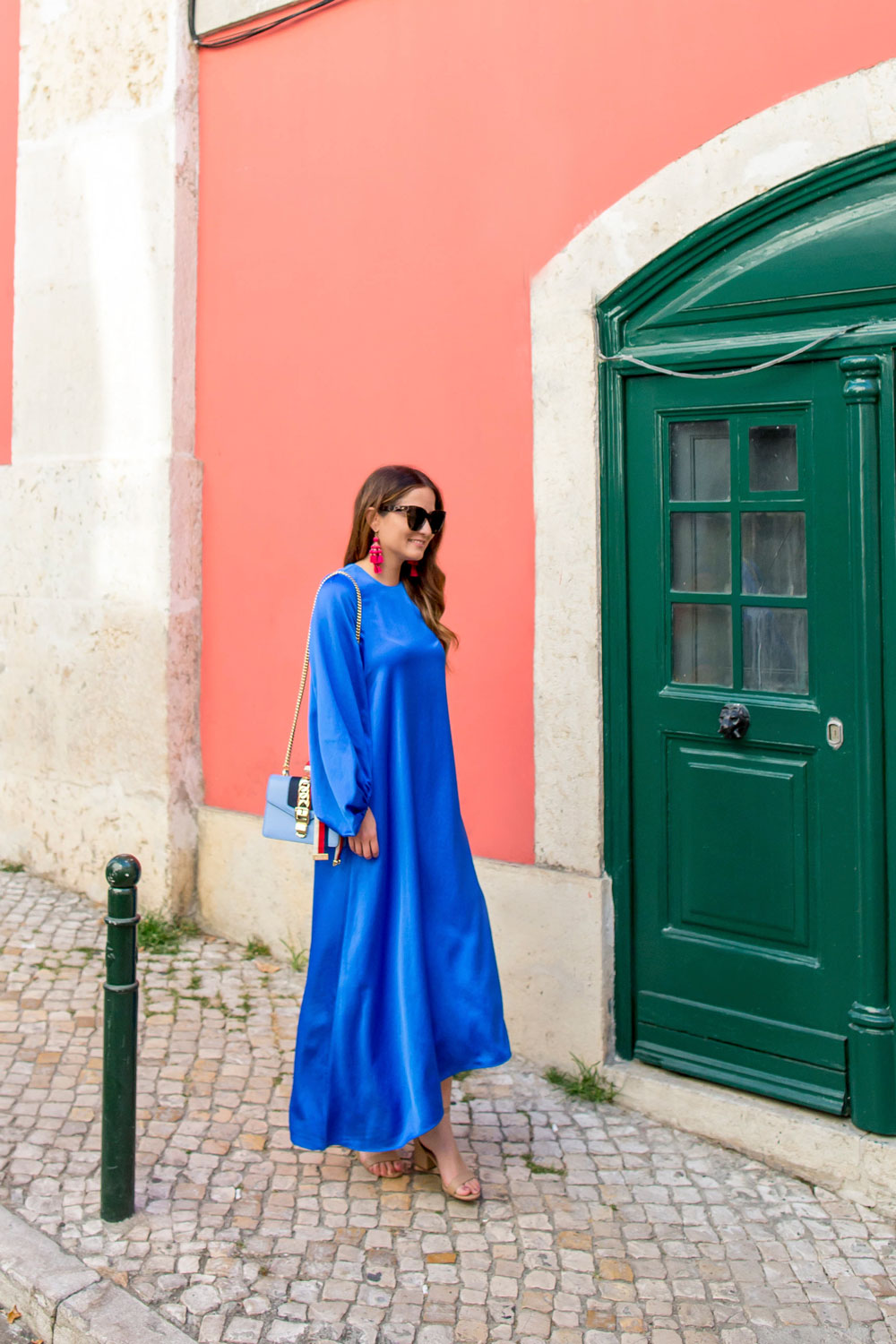 Tibi Blue Satin Dress