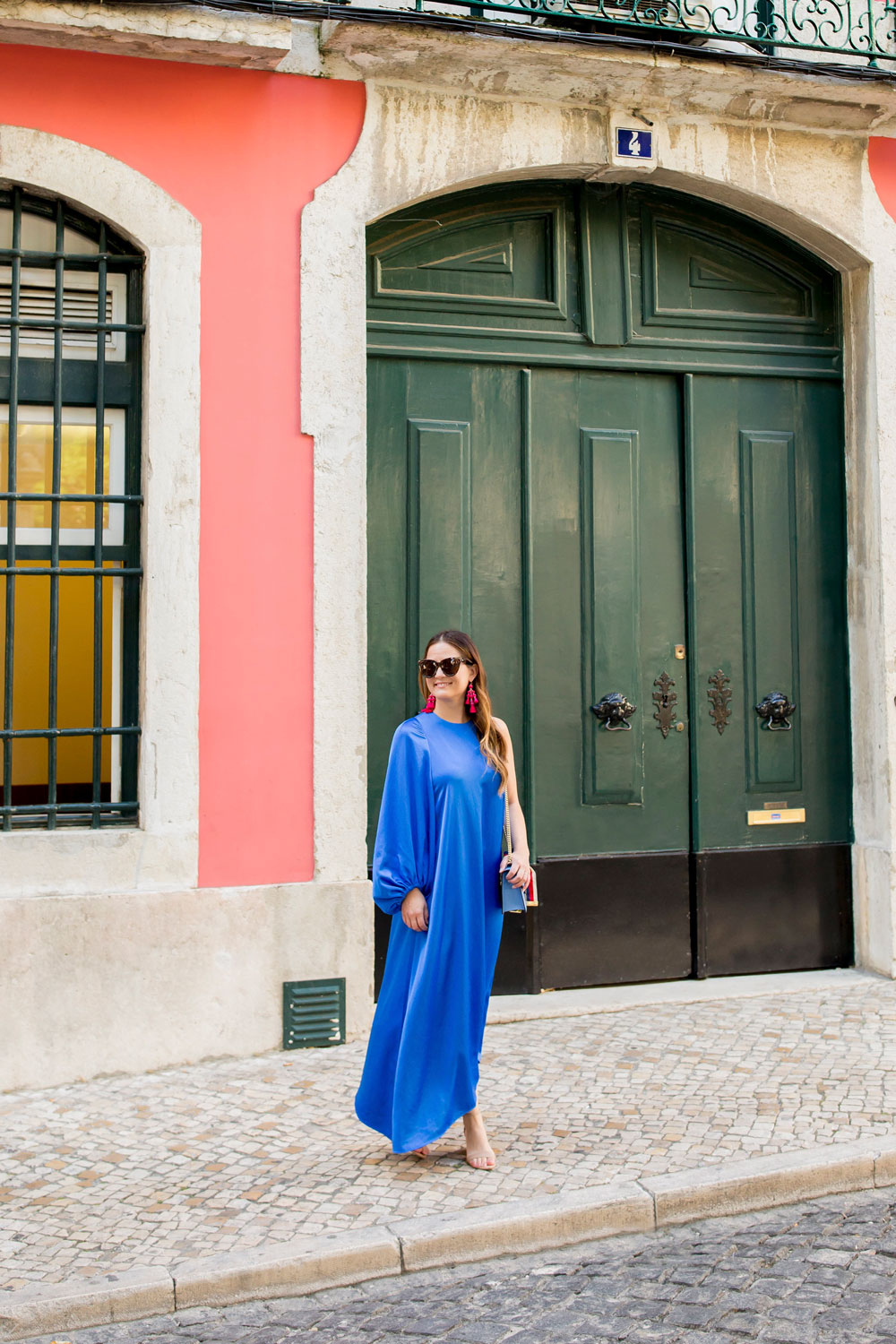 Tibi Blue Satin One Sleeve Dress