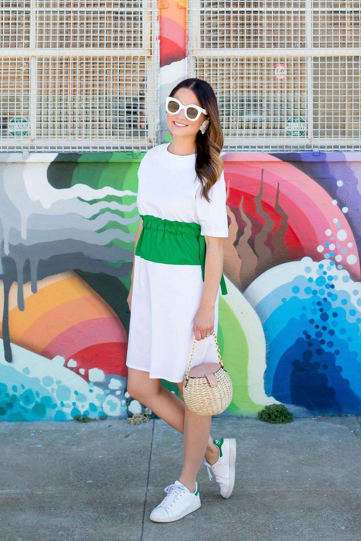 White Dress Green Stripe