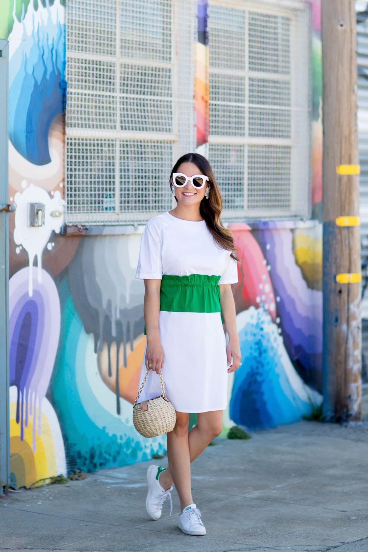 White Green Colorblock Dress