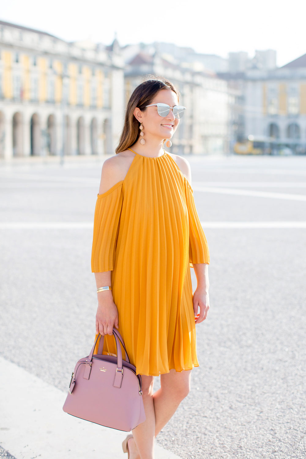 Yellow Pleated Cold Shoulder Dress