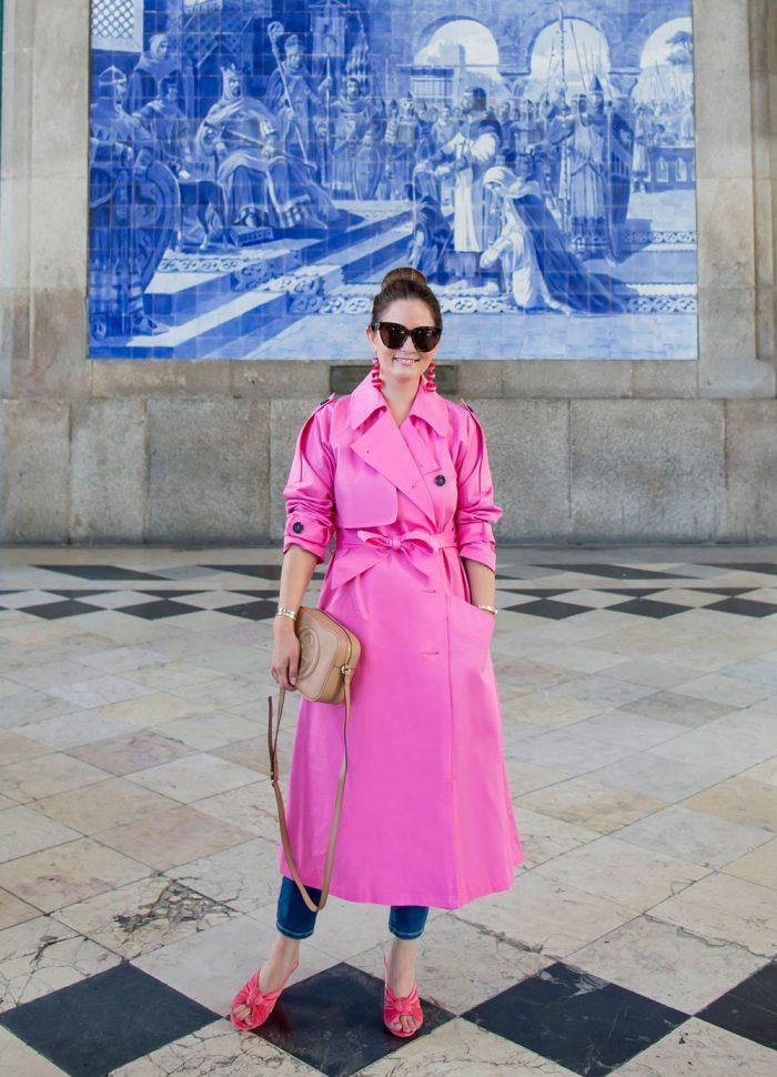 Bright Pink Trench Coat | Porto, Portugal