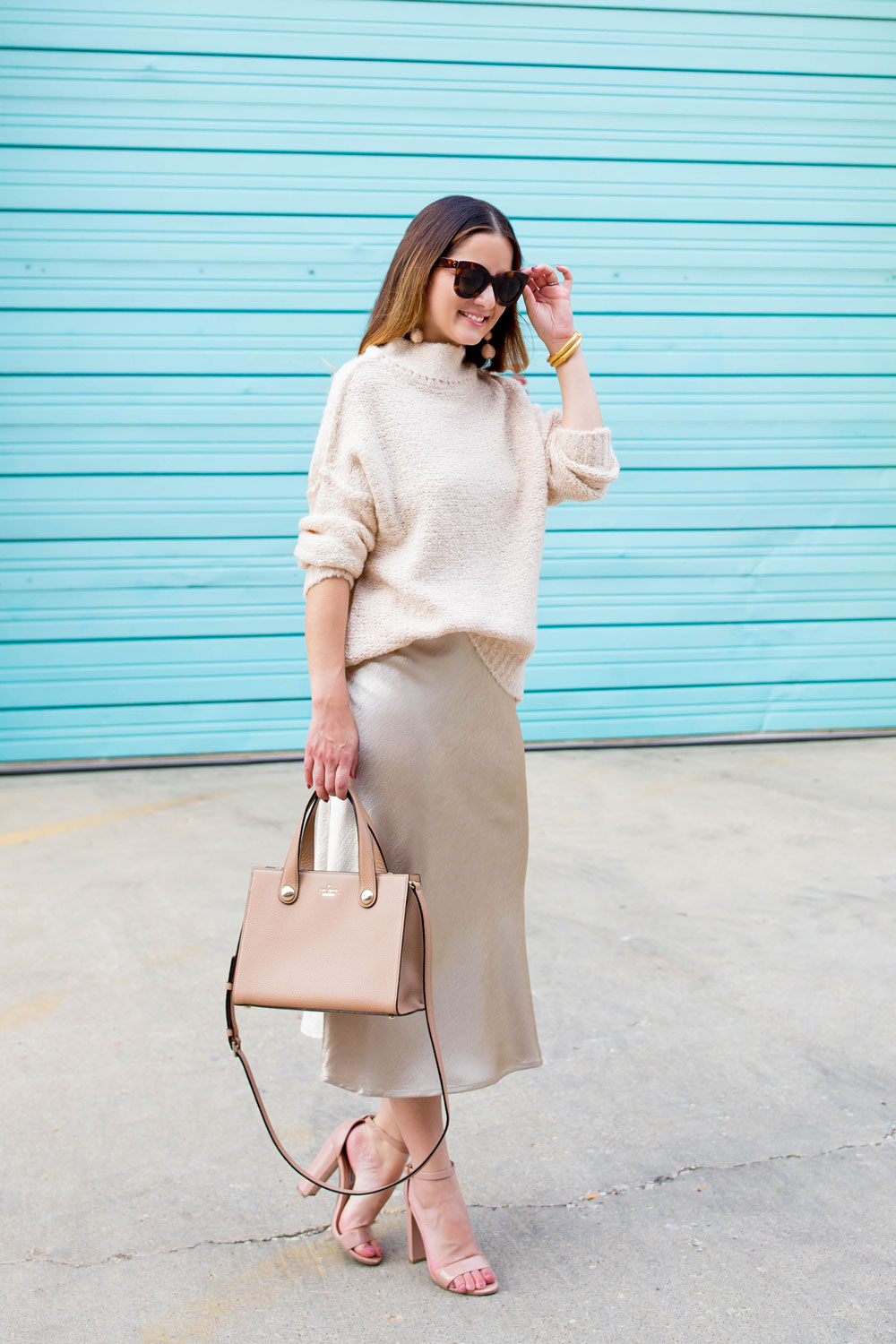 Beige Satin Midi Skirt