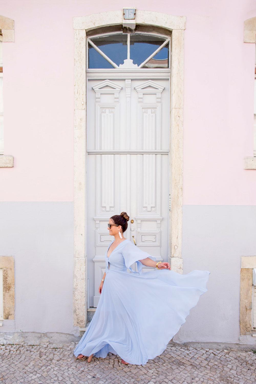 Blue Tie Front Maxi Dress