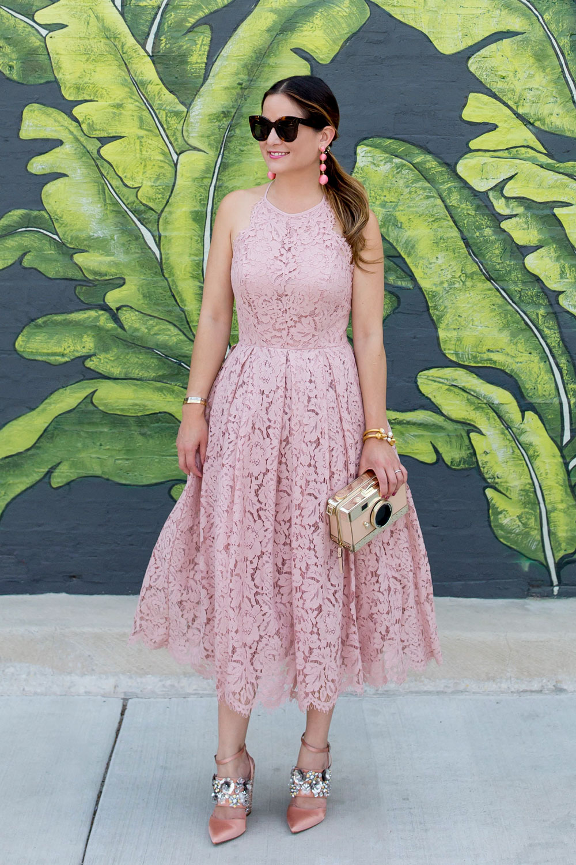 Blush Lace Fit and Flare Midi Dress
