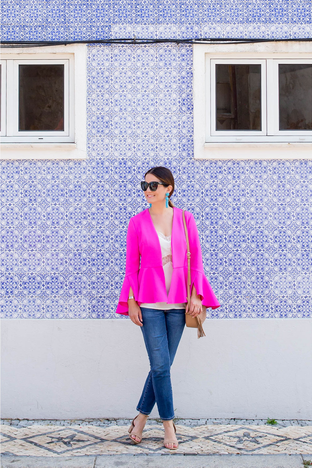 Bright Pink Bell Sleeve Jacket