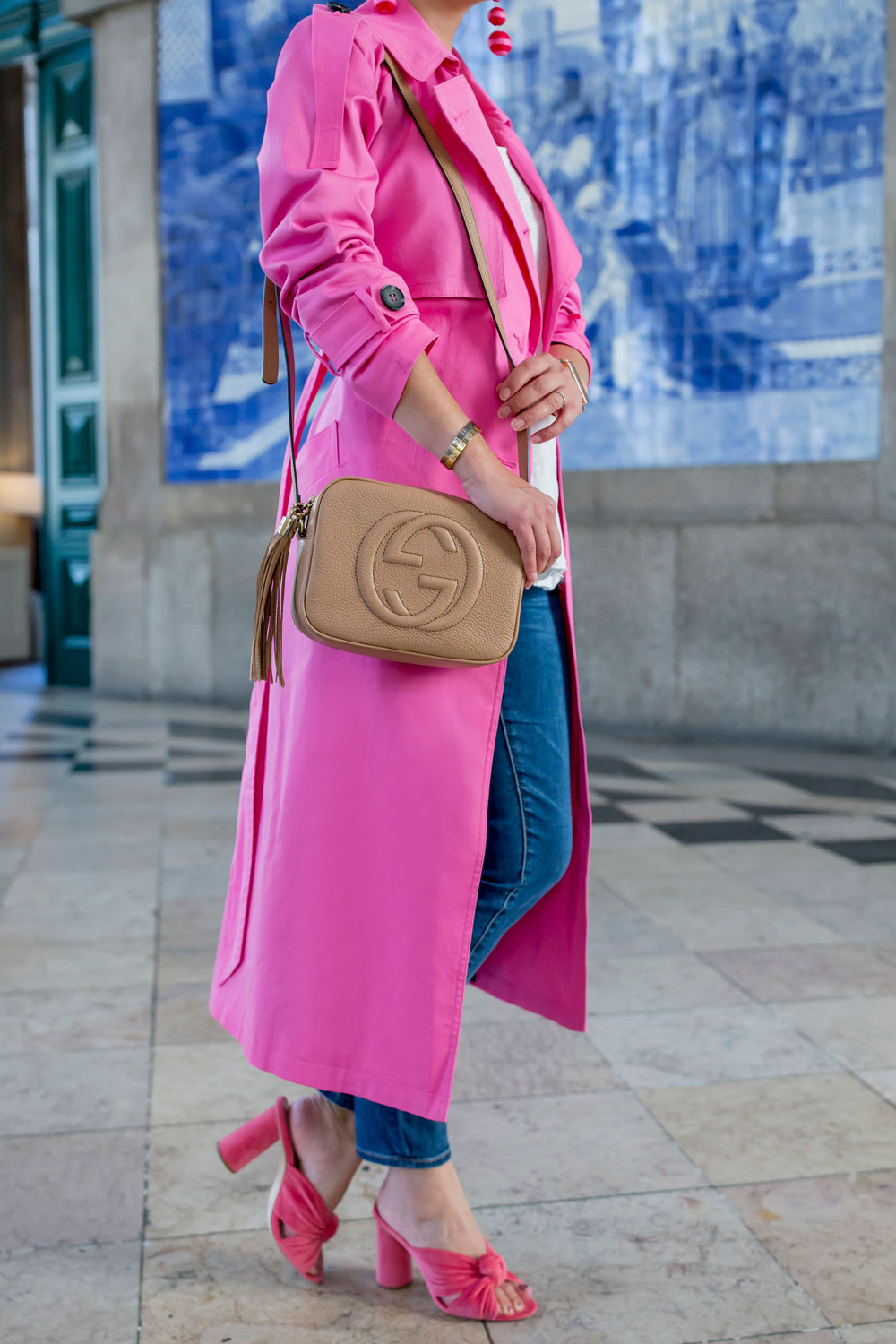 Asos Bright Pink Trench Coat At The Porto Train Station