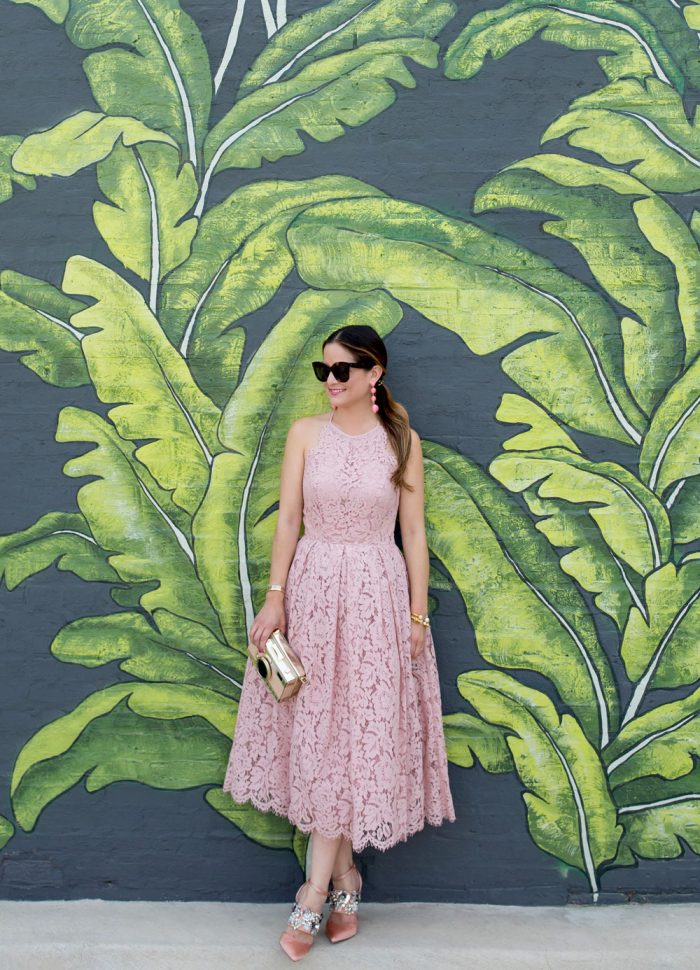Blush Lace Fit and Flare Midi Dress