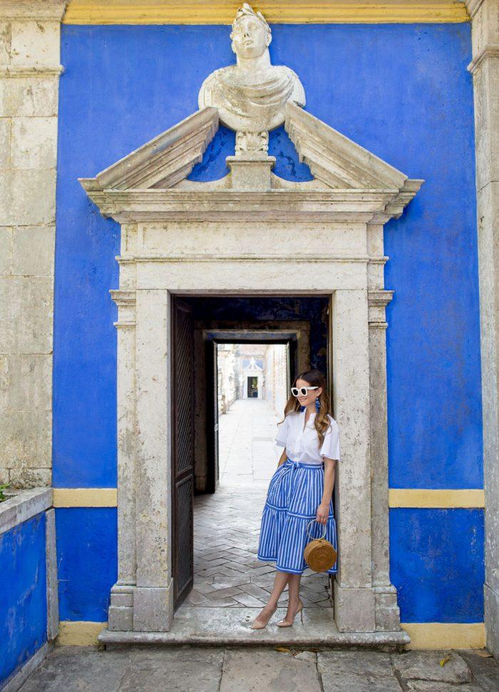 J. Crew Blue Striped Skirt | Palacio Marqueses Fronteira Lisbon