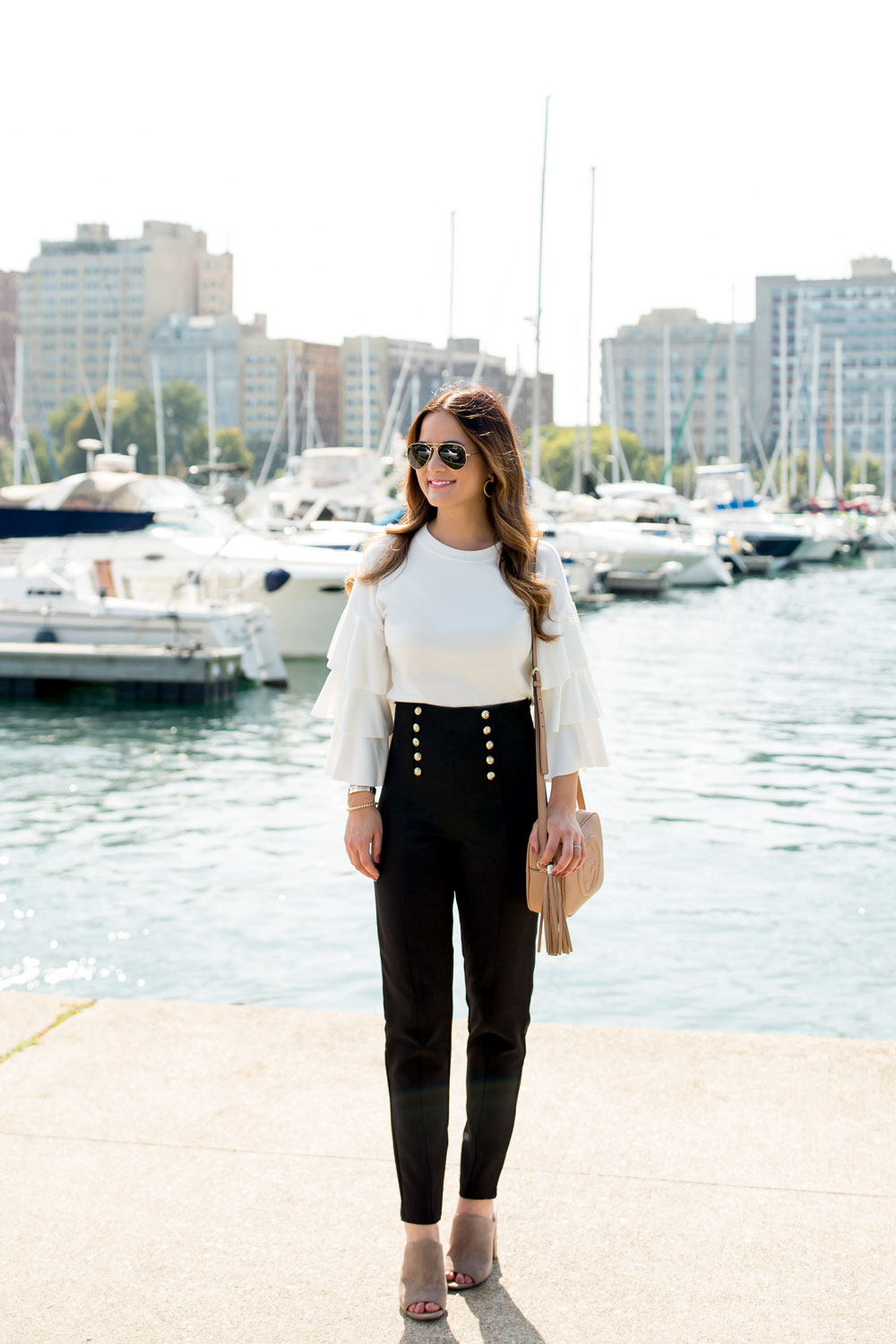 Gold Button Cropped Nautical Pants