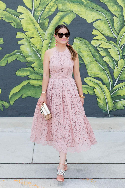 Jennifer Lake Style Charade Pink Lace Dress