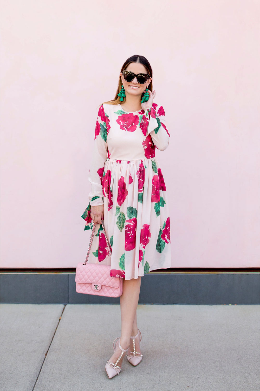 Long Sleeve Rose Print Fit Flare Dress
