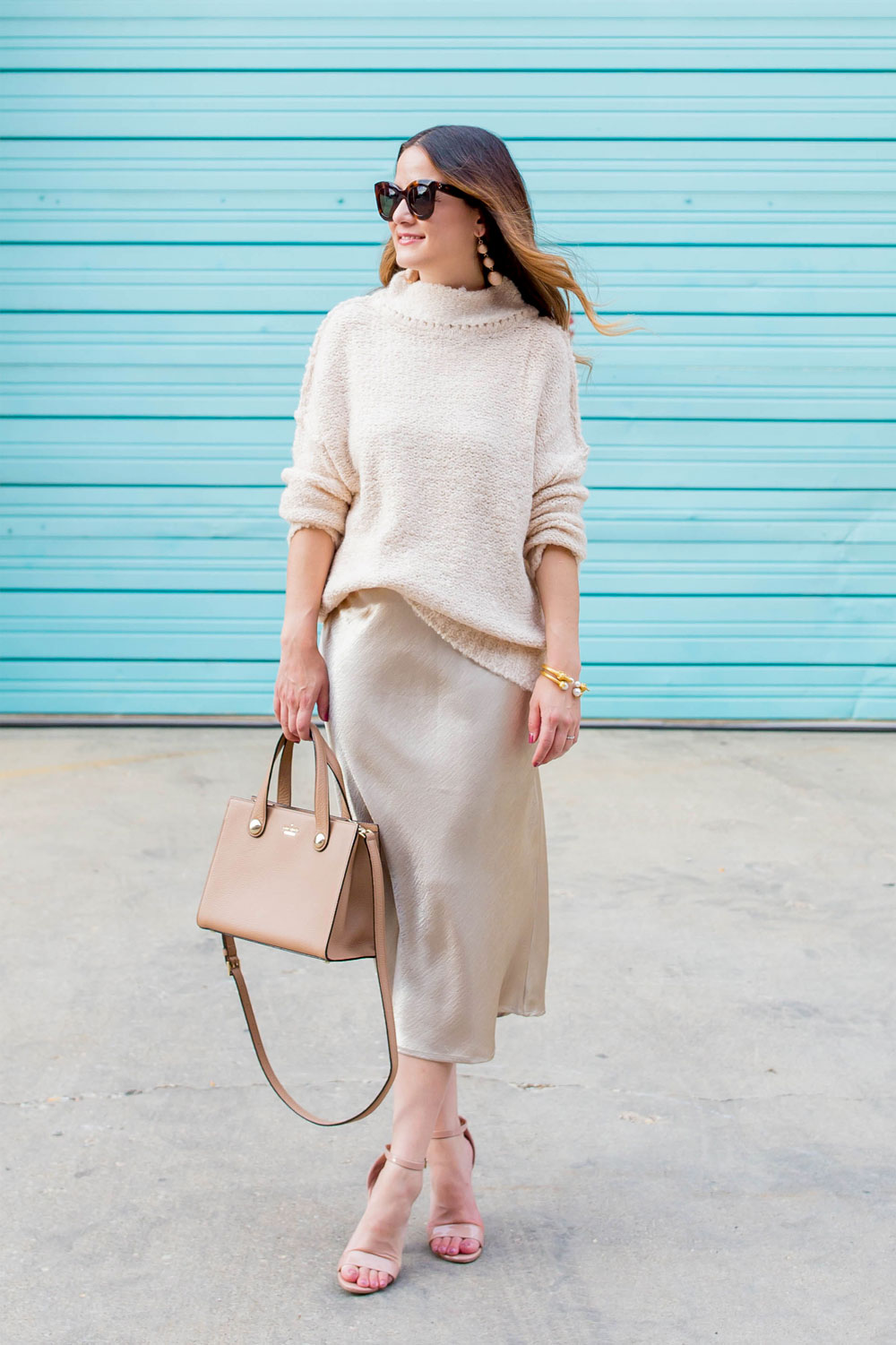 Metallic Satin Midi Skirt