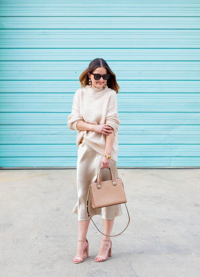 Beige Satin Midi Skirt and Oversized Sweater
