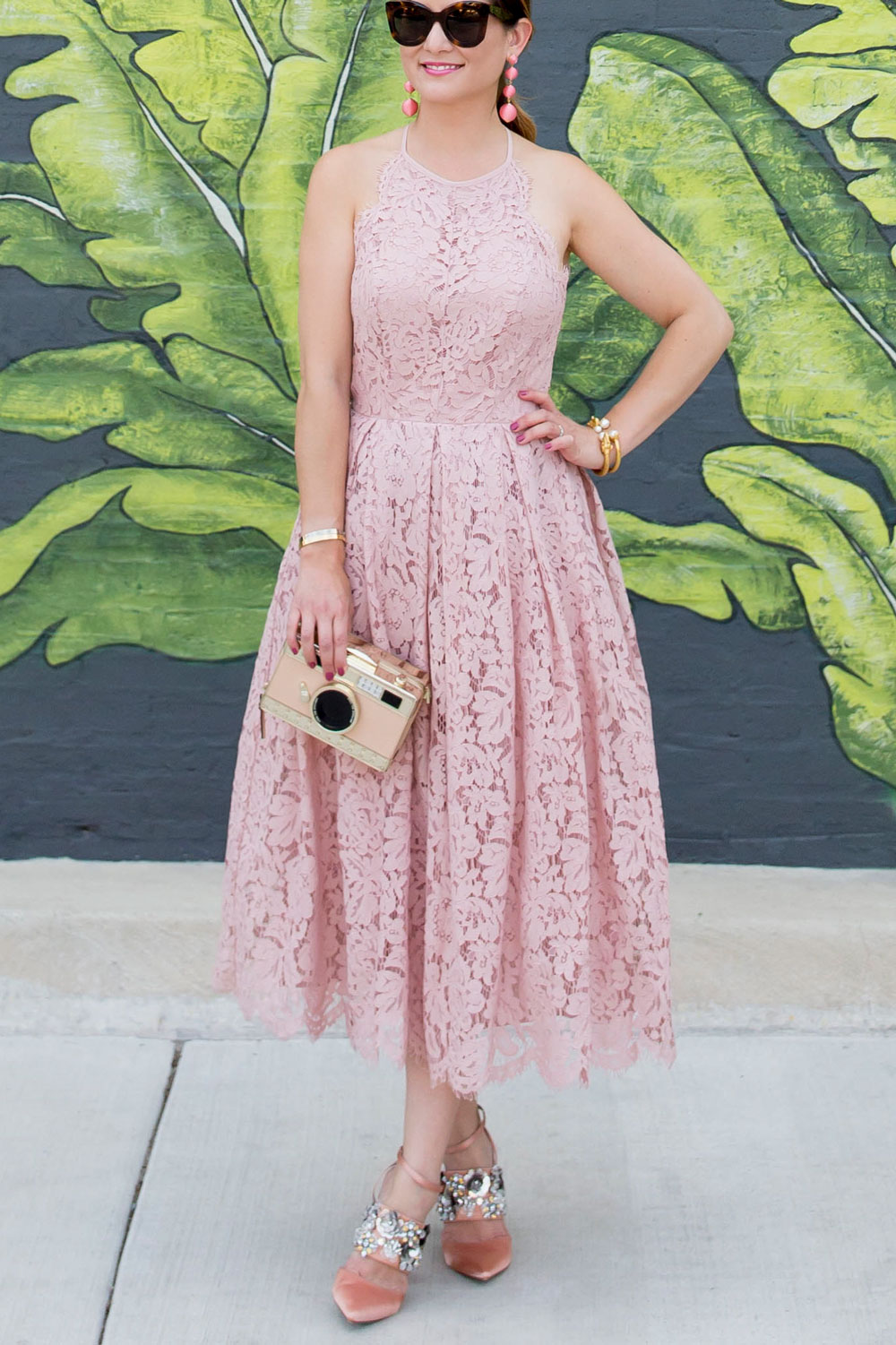 Blush Lace Fit And Flare Midi Dress At A Chicago Leaf Mural