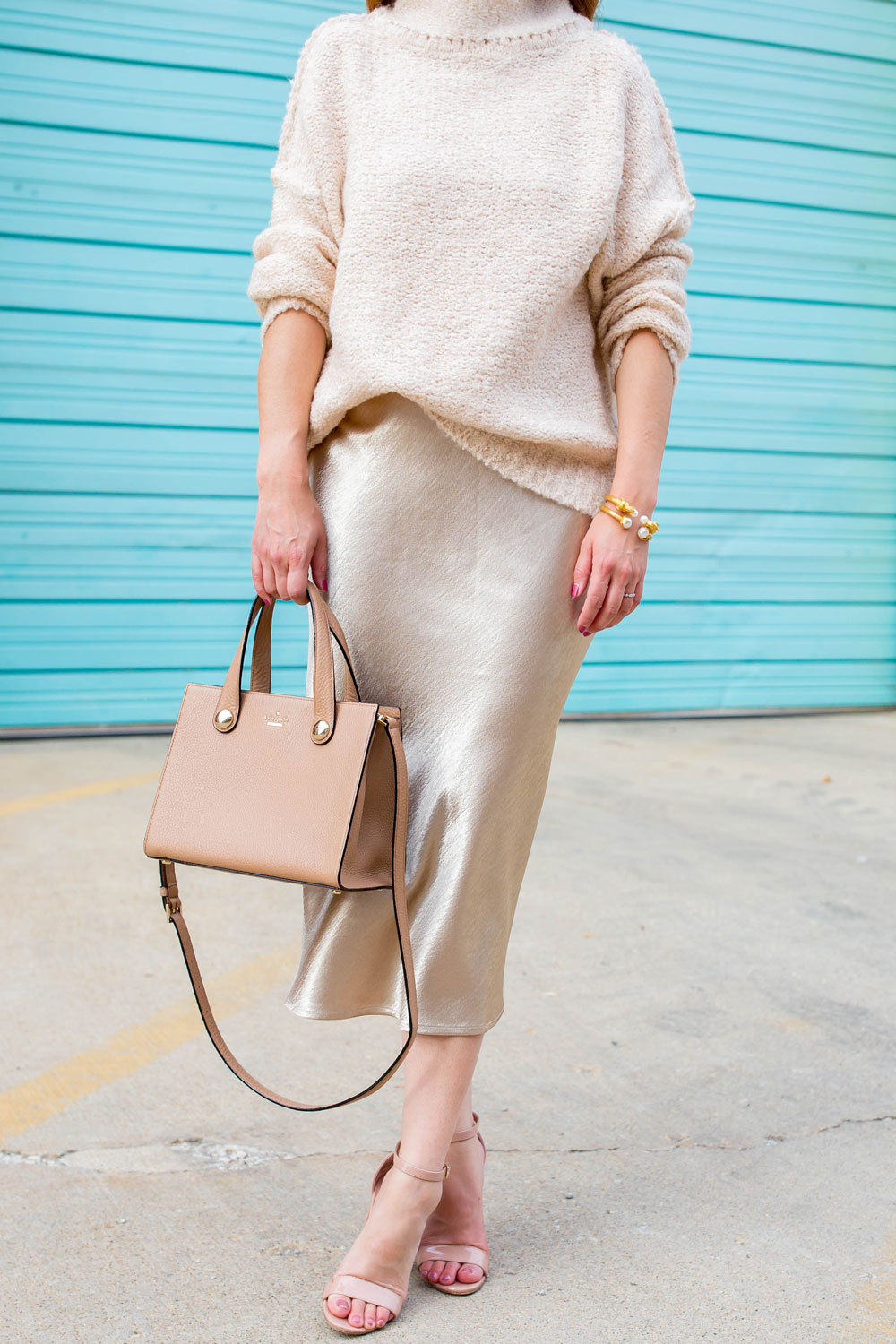 Tan Satin Midi Skirt