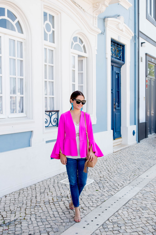 Topshop Bright Pink Bell Sleeve Jacket