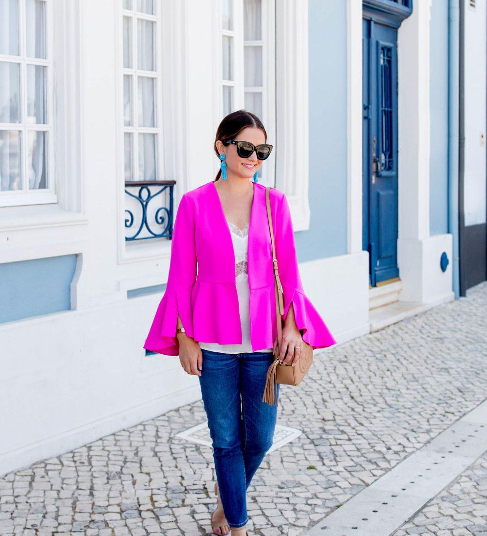 Topshop Pink Fluted Sleeve Jacket