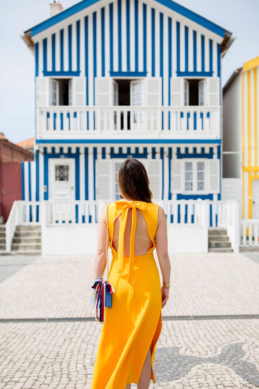 Topshop Yellow Open Back Dress