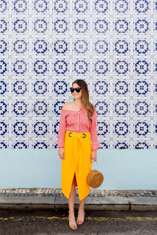 Topshop Yellow Tie Waist Skirt
