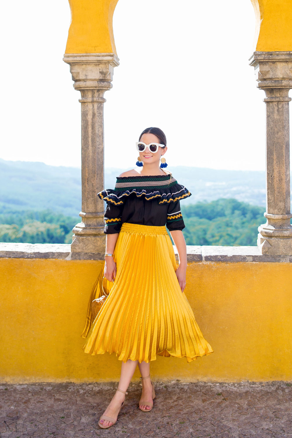 Yellow Metallic Pleated Skirt