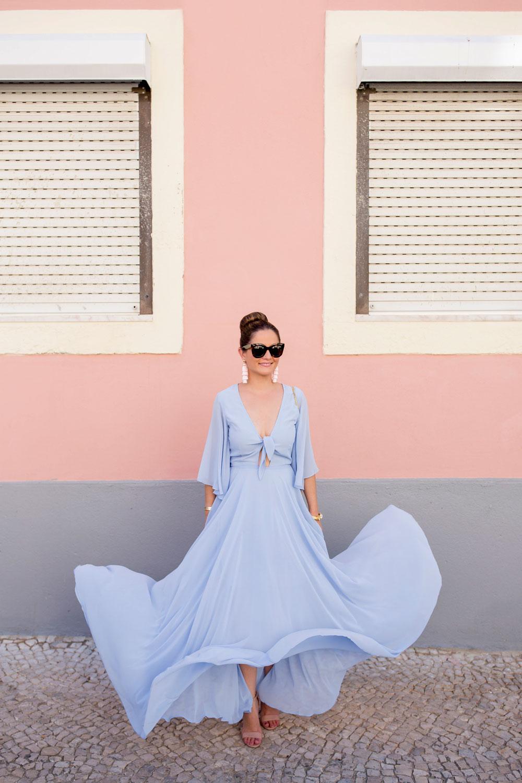 Yumi Kim Blue Tie Front Maxi Dress
