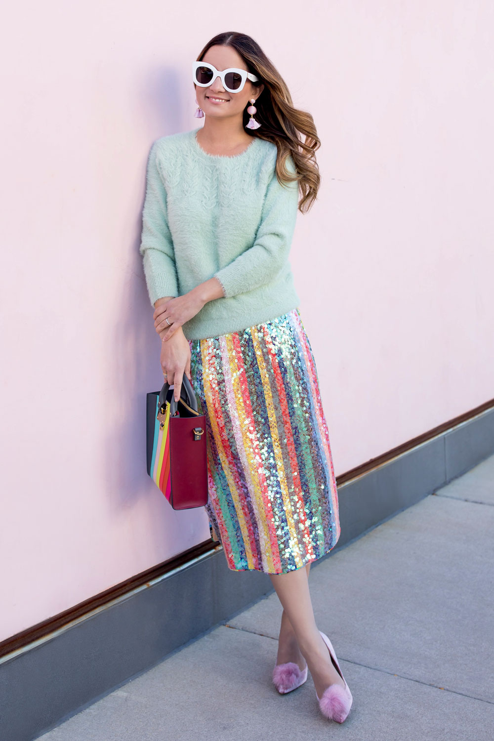 Anthropologie Colorful Sequin Skirt