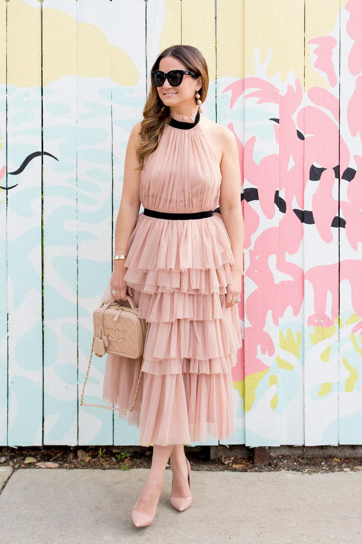 ASOS Pink Tulle Ruffle Midi Dress