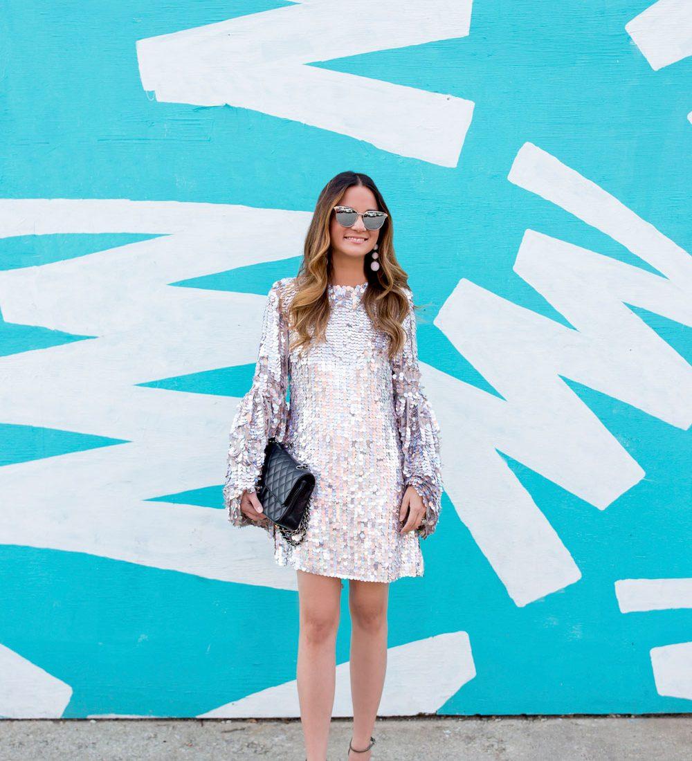 ASOS Silver Sequin Mini Dress