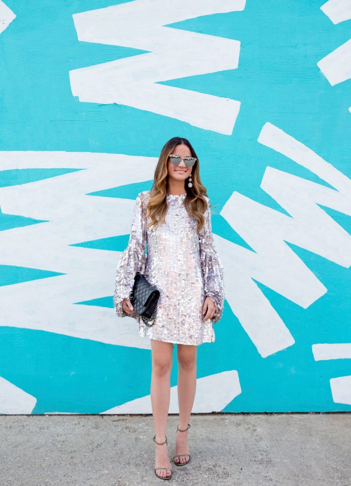 Silver Sequin Bell Sleeve Mini Dress